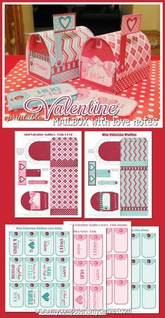 Printable Valentine Mailboxes with Love Notes and Cards... CUTE!!!