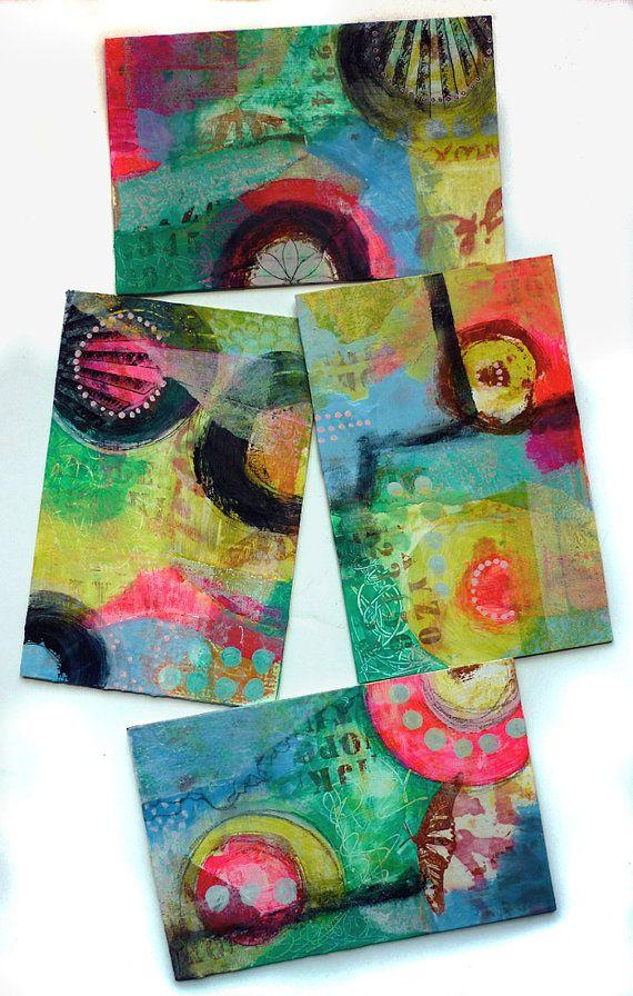 Abstract Mixed Media Original Painting Collage by DancingGirlArt