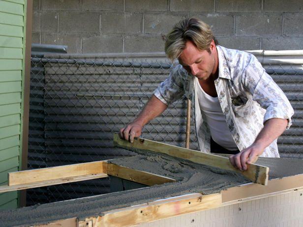 DIY Outdoor Countertop Ideas | Outdoor Kitchen Island with Concrete Countertop : Outdoors : Home ...