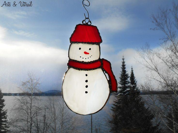 Bonhomme de neige en vitrail capteur de lumi re ou for Decoration porte bonhomme de neige