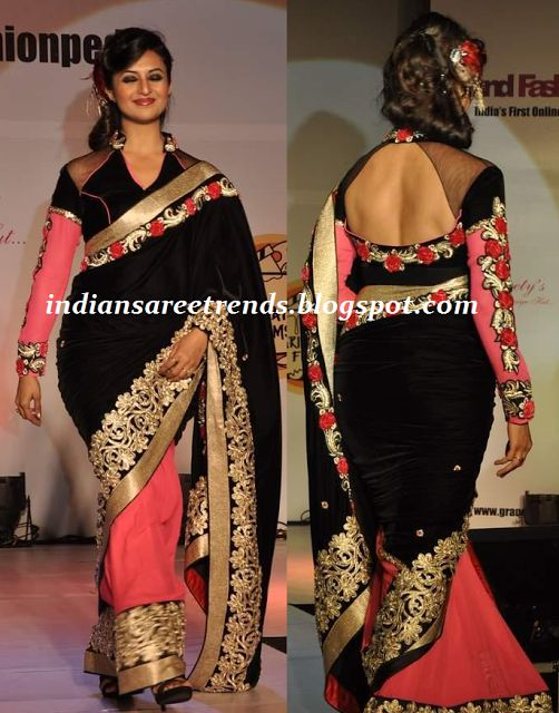 designer half and half saree with pink saree and black pallu embellished with gold embroidery work and border paired with designer embroidery work full sleeve blouse.