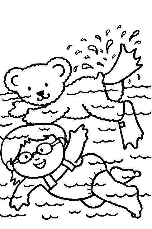 Kleurplaat: zwemmen