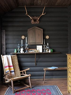 Cabin Decorating Ideas - Log Cabin Interior Design - Country Living.   Hudson Bay Blanket and antlers