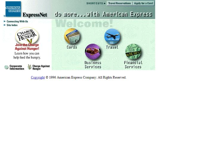 American Express website in 1996