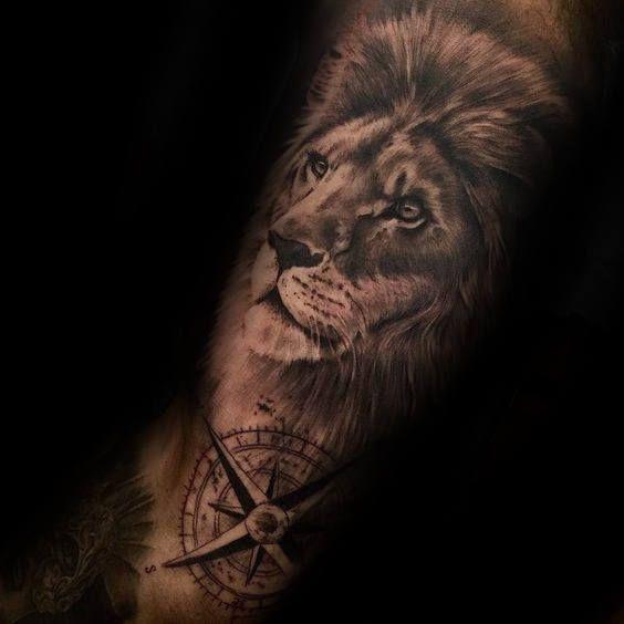 Nautical Star Half Sleeve Lion Male Tattoos