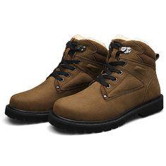 #Banggood Мужские зимние теплые ботинки хаки черный зашнуровать ботинки (913595) #SuperDeals