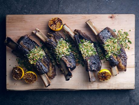 Slow-Cooked Short Ribs with Gremolata Recipe    Epicurious.com ~ By: Bon App'etit and Travis Lett, Dec. 2013 ~ Yield: (8) Servings;  ~ English short ribs are cut lengthwise along the bone, so the meat sits on top. With a day or two of notice, any butcher should be able to cut them to order.  Read More http://www.epicurious.com/recipes/food/views/Slow-Cooked-Short-Ribs-with-Gremolata-51205070#ixzz2nKhpFkrq