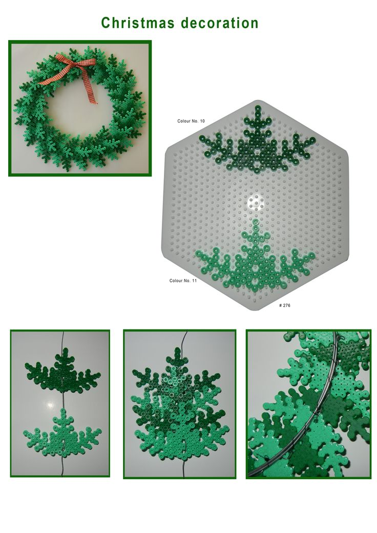 DIY Christmas decoration, Hama beads, perler beads, bead sprites, nabbi fuse melty beads, wreath pattern, From Hama.dk.