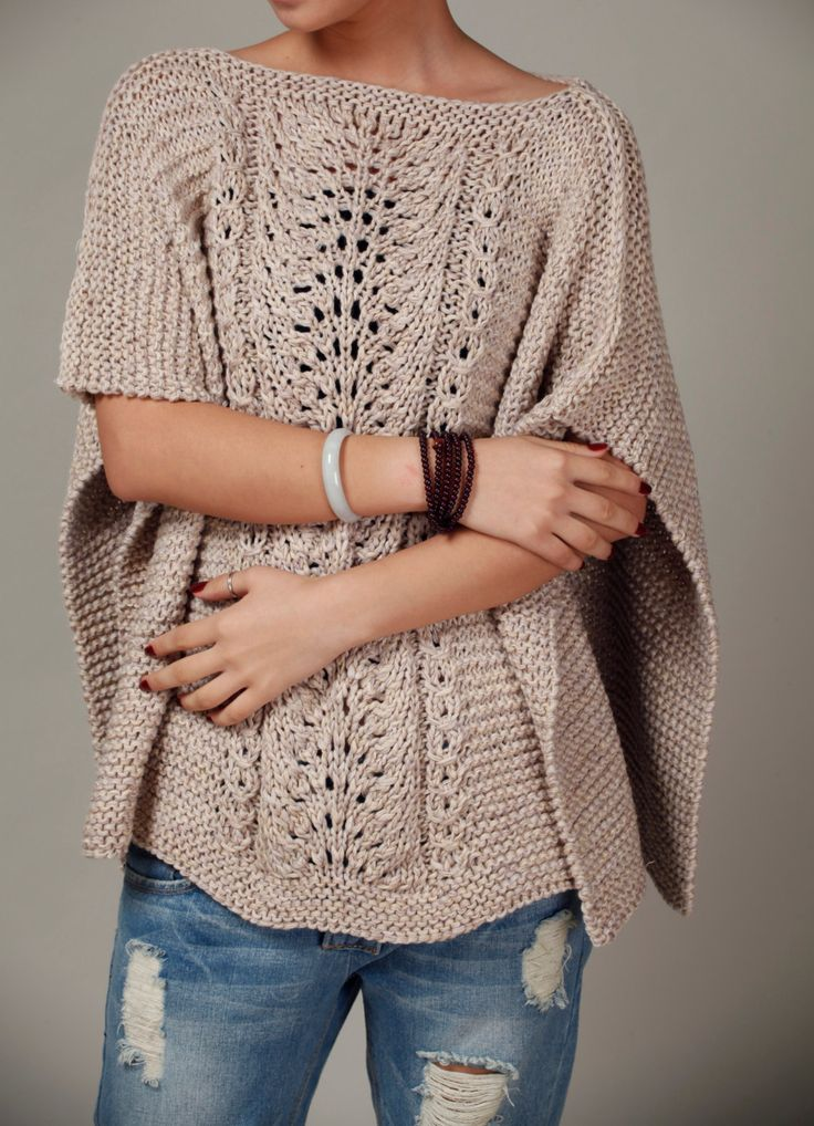 hand knitted Poncho/ capelet in wheat.
