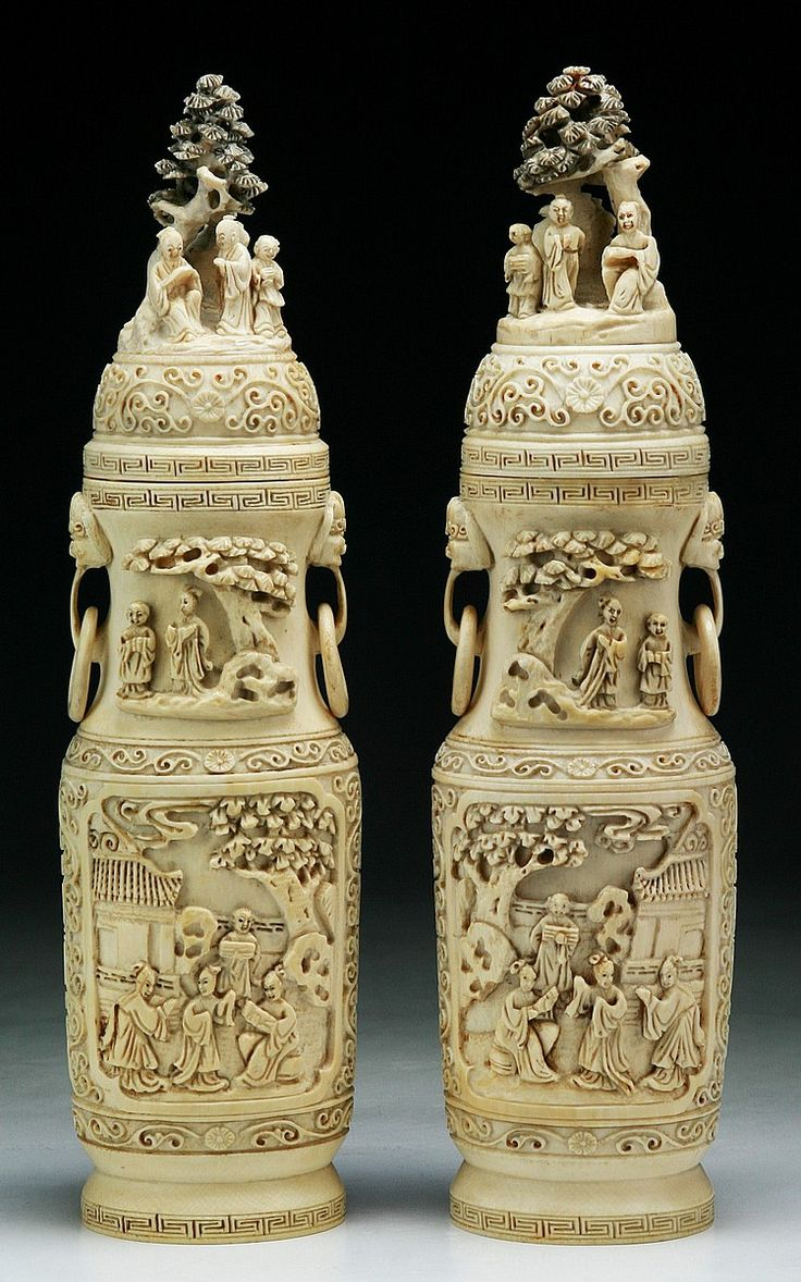 945 best chinese art images on pinterest chinese art chinese pair chinese antique carved ivory vases with covers both of rounded form with two loose reviewsmspy