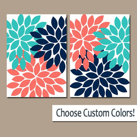 Coral Turquoise Navy WALL ART Canvas or Prints by TRMdesign