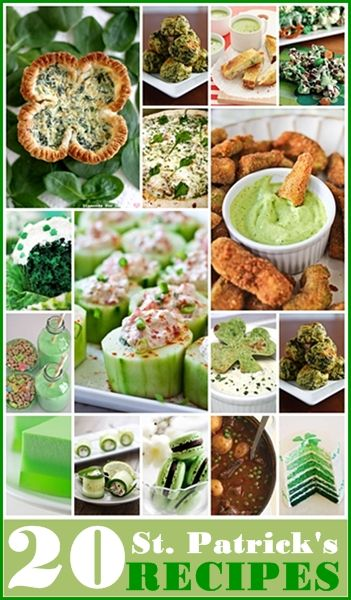 20 St. Patrick's Day Recipes... Eat your greens! #StPatricksDay #holidays