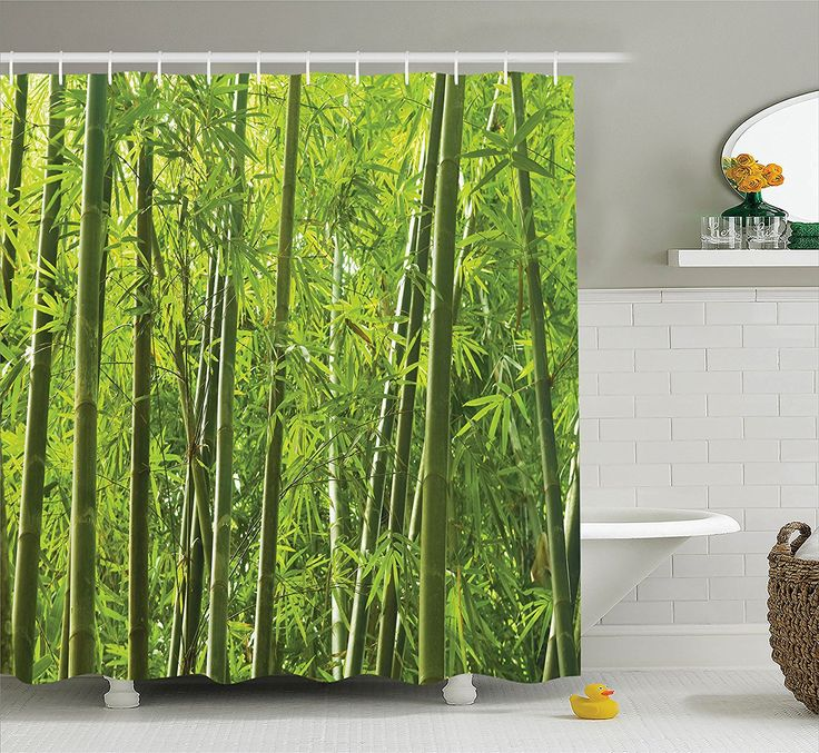 Bamboo Decor Shower Curtain Set by Ambesonne, Exotic Tropical Bamboo Forest with Fresh Color Asian Nature Wildlife Trees Leaves Decor Print, Bathroom Accessories, 84 Inches Extralong, Green: Amazon.ca: Home & Kitchen