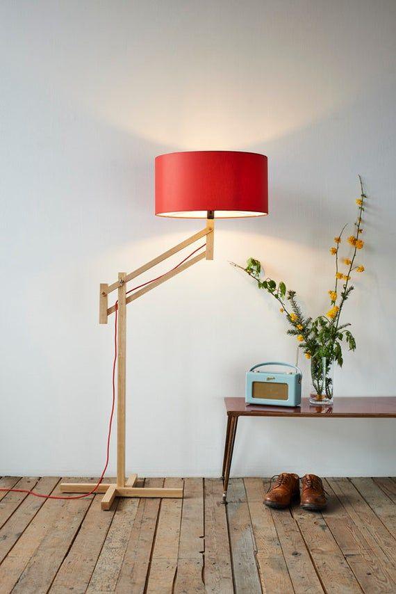 Adjustable Floor Lamp Red Shade By Marklowe In 2020 Red Floor Lamp Adjustable Floor Lamp Scandinavian Floor Lamps