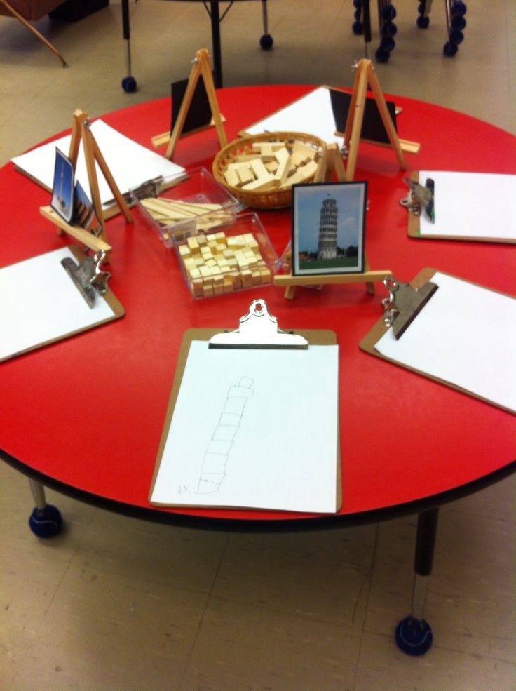 Artefacts table - a place to experiment and play with building materials whilst using real life photographs.