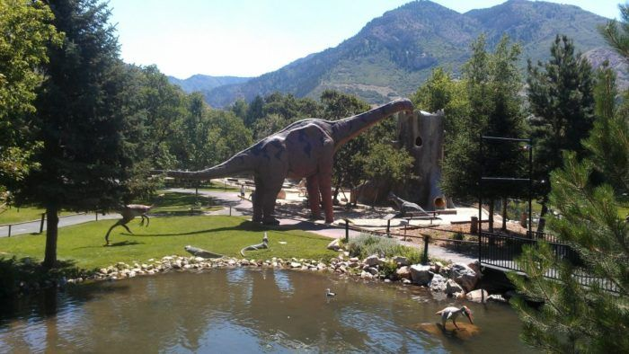 The George S. Eccles Dinosaur Park is located near the mouth of Ogden Canyon at 155 East Park Boulevard in Ogden. With the mountains in the background, it's easy to imagine what Ogden might have looked like when dinosaurs roamed here.