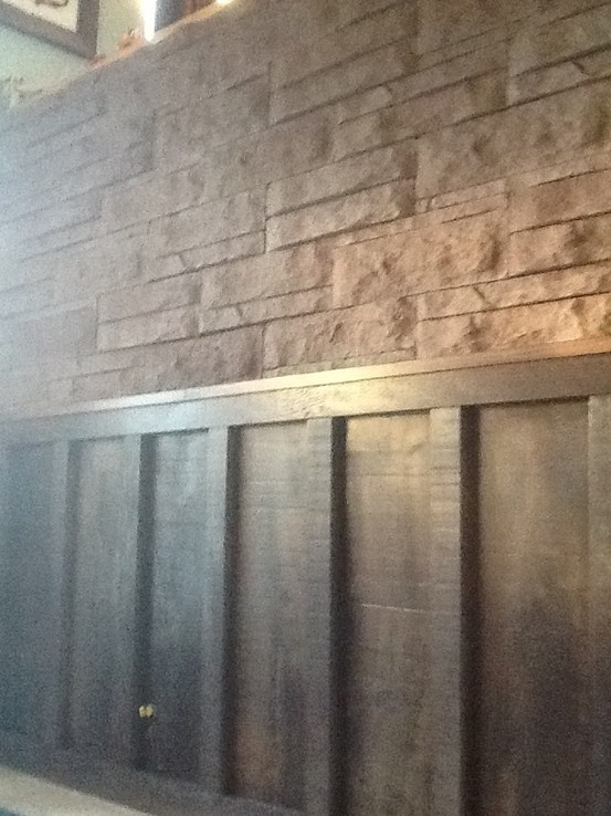 Rough Cut Pine Wainscot And Stone In A Split Entrance Work In Progress Exterior Stone