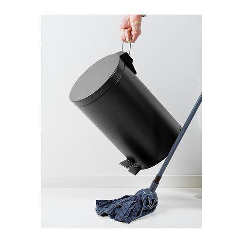 STRAPATS Pedal bin - matt black, 12 l - IKEA