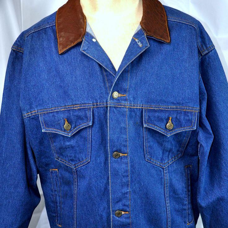 Marlboro Denim Trucker L Denim Jacket Large Leather Collar Country Store Cigs #MarlboroCountryStore