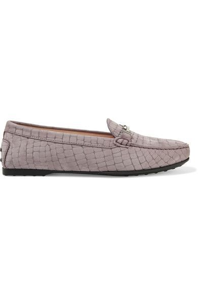 Tod's - Gommino Croc-effect Suede Loafers - Lilac