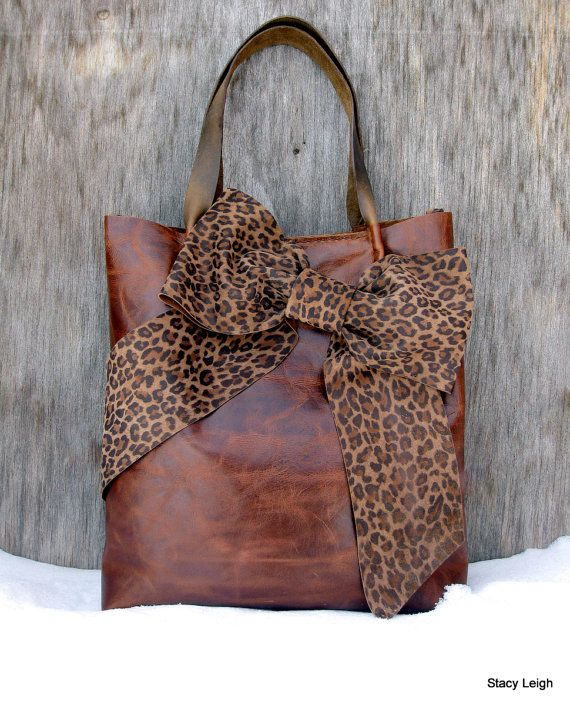 Leather Bow Tote in Distressed Brown  with Leopard Print by Stacy Leigh RESERVED for Kristi