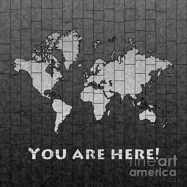 World Map Glasa You Are Here Black And White, world map art wall decor print. #elevencorners #mapglasa