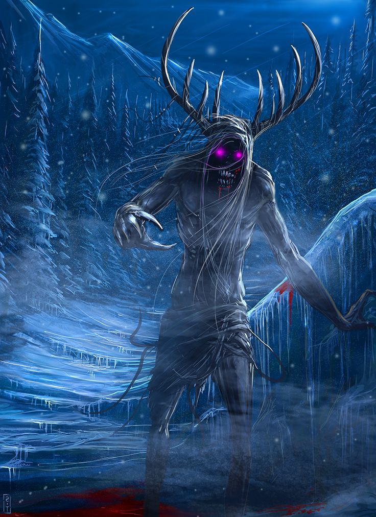 A Wendigo is a demonic half-beast creature appearing in the legends of the Algonquian peoples along the Atlantic Coast and Great Lakes Region of both the United States and Canada. The creature or spirit could either possess characteristics of a human or a monster that had physically transformed from a person. It is particularly associated with cannibalism.