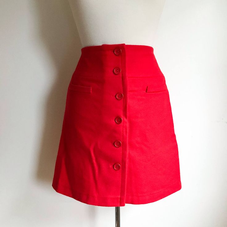 Women's Vintage. Poppy Red Wool A-line High Waisted Wrap Button Up Mini Skirt. Valentines Day Date Night Outfit. Size 0 70's Party Fashion by MarlaHomanCollection on Etsy https://www.etsy.com/ca/listing/587780901/womens-vintage-poppy-red-wool-a-line