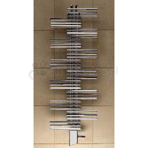 Dekoracyjny grzejnik łazienkowy firmy Zehnder z poziomymi, cienkimi rurami przymocowanymi krzyżowo, naprzemiennie na dwóch ześrodkowanych kolektorach pionowych.