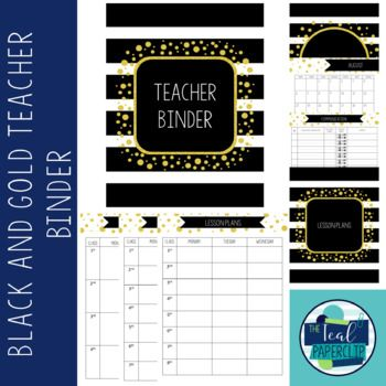 Editable Teacher Binder 17-18: Black and Gold Confetti. Great for middle and high school teachers.