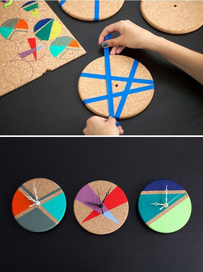 Dessous de verre à peindre avec masking tape pour motifs graphiques