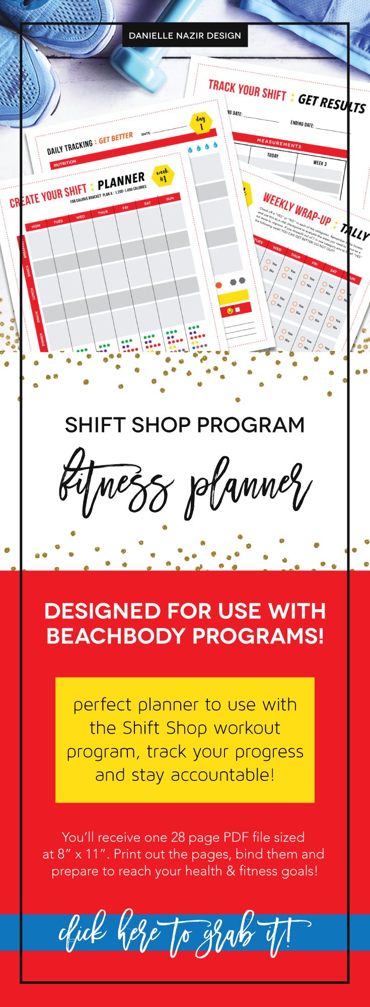 Shift Shop Fitness & Nutrition Planner : PLAN A // The perfect fitness planner for doing the Shift Shop Beachbody workout program. Plan each week's meals and workouts. Then daily track your nutrition, workout, mood and make notes on what to improve. At the end of each week fill out the tally sheet and recognize your win and what needs improvement. Also a sheet for before and after measurements. // Shift Shop // Beachbody's Shift Shop // Shift Shop Fitness Planner // Shift Shop tracking sheet…