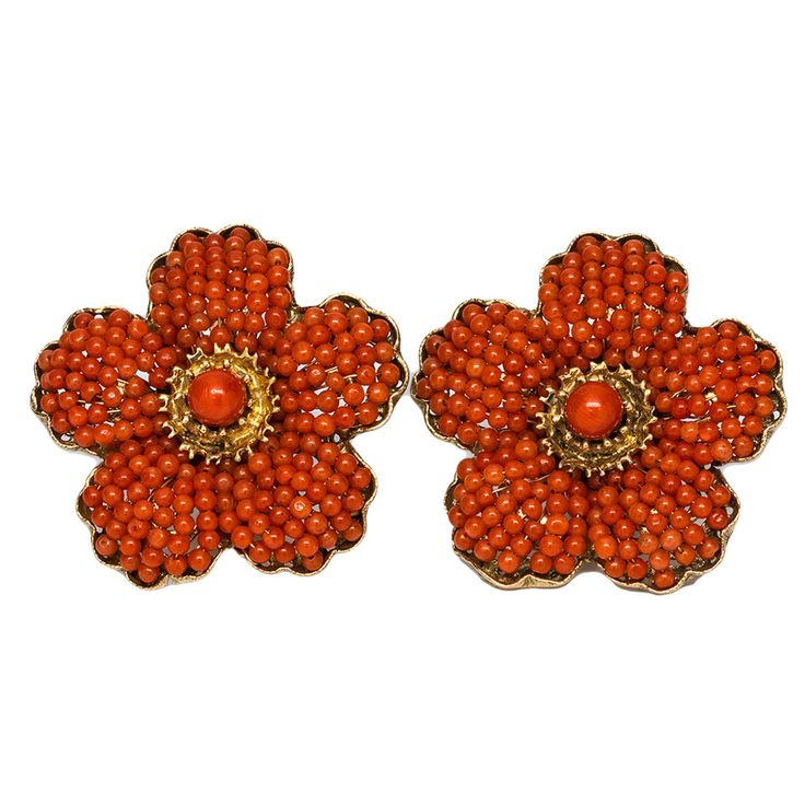 1940s Coral Gold Flower Earrings | From a unique collection of vintage lever-back earrings at https://www.1stdibs.com/jewelry/earrings/lever-back-earrings/