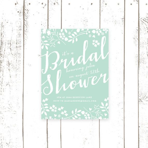 Bridal Shower Invitation Floral Bridal Shower by MooseberryPaperCo