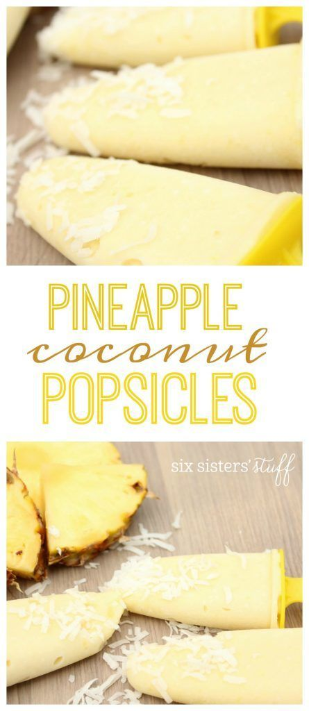 Pineapple coconut popsicle recipe from @sixsistersstuff | Easy summer treat for kids or adults.