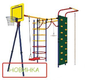 """Высота:2,19 м, Занимаемая площадь:2,48 х 2,04 м, Допустимая нагрузка:100 кг, Комплектация:кольцевой скалолаз, тарзанка, перекладина, качели, турник, канат, кольцо баскетбольное, """"скалолаз""""."""