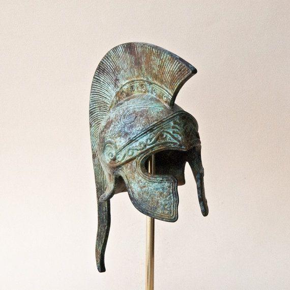 Bronze Greek Helmet Ancient Corinthian Helmet Long by GreekMythos,