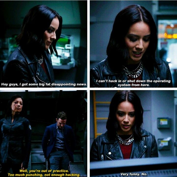 """Daisy: I can't hack in and shut down the plant's operating system from here. Fitz: Well, you're out of practice. Too much punching, not enough hacking. #Marvel Agents of S.H.I.E.L.D. #AoS #AgentsofSHIELD 4x06 """"The Good Samaritan"""""""
