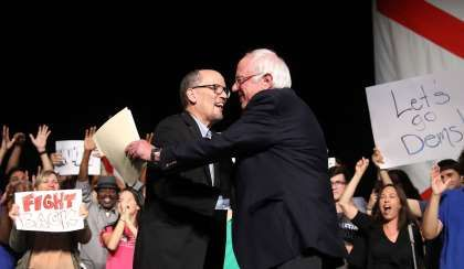 Donors Flood Democratic Groups With Cash. But not the DNC  -  August 22, 2017:  Image:  Image: Sen. Bernie Sanders And DNC Chair Tom Perez Hold Rally In Miami.