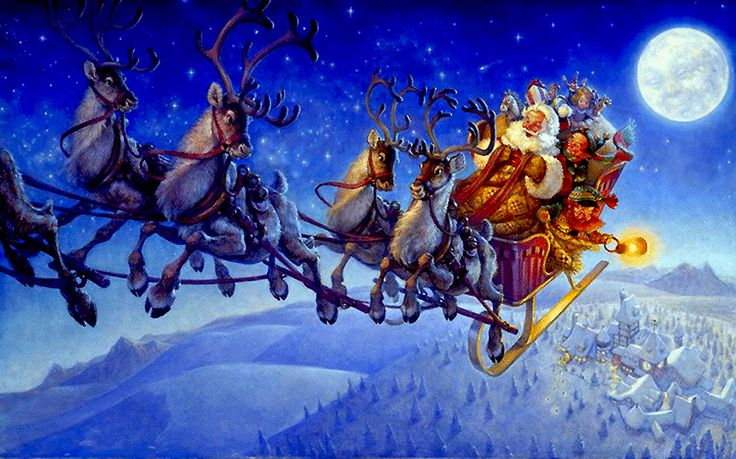 46 best Christmas with Santa Claus and Reindeer Flying ...