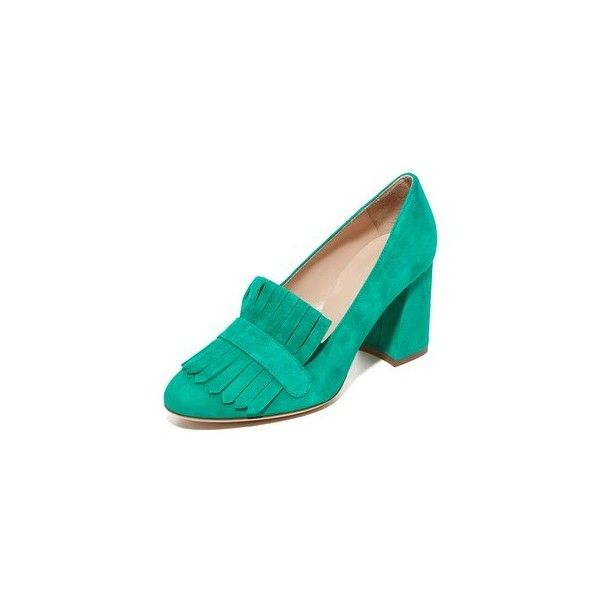 Club Monaco Giordanna Loafer Pumps (€320) ❤ liked on Polyvore featuring shoes, pumps, green, club monaco, green shoes, leather loafers, chunky loafers and genuine leather shoes