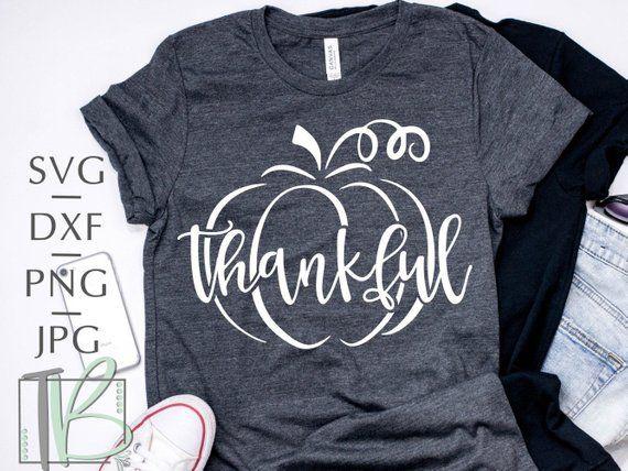 Fall Graphics Tee Fall Unisex Shirt Thankful with Pumpkin Outline Unisex T-Shirt