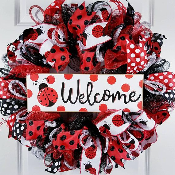 Check out this item in my Etsy shop https://www.etsy.com/listing/591536789/ladybug-wreath-welcome-wreath-for-front