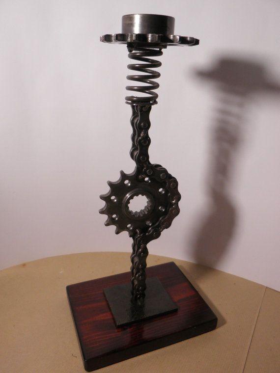 Art chain metal candle holder / unique design by AtelierIslandArt