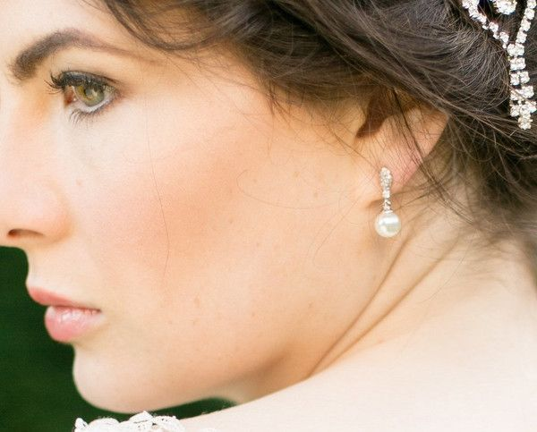 Clip-on Pearl and Crystal Wedding Earrings, Rochelle