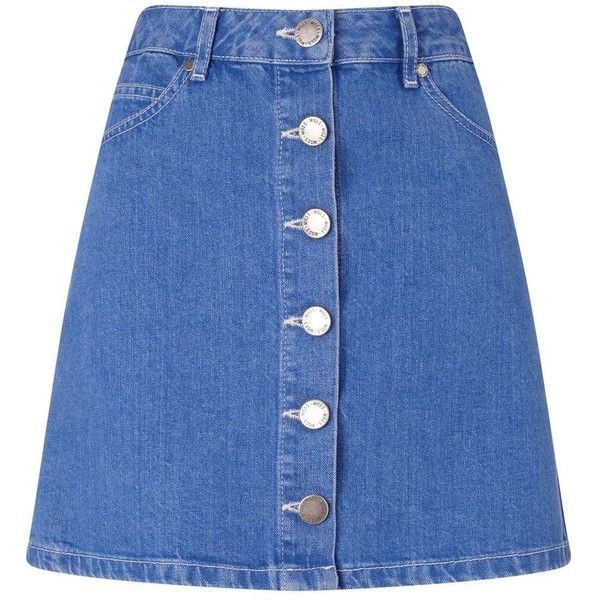 Miss Selfridge Bright Blue Denim Skirt ($35) ❤ liked on Polyvore featuring skirts, mini skirts, mid wash denim, blue a line skirt, button skirt, mini skirt, denim mini skirt and short skirts