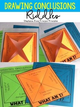 Riddles are a great way to introduce drawing conclusions to the youngest learners. The Drawing Conclusion frames are interactive. Students cut and fold open the frame then illustrate/write the answer to the riddle on the inside. A blank frame is included so students can create their own riddle and have their classmates draw conclusions.