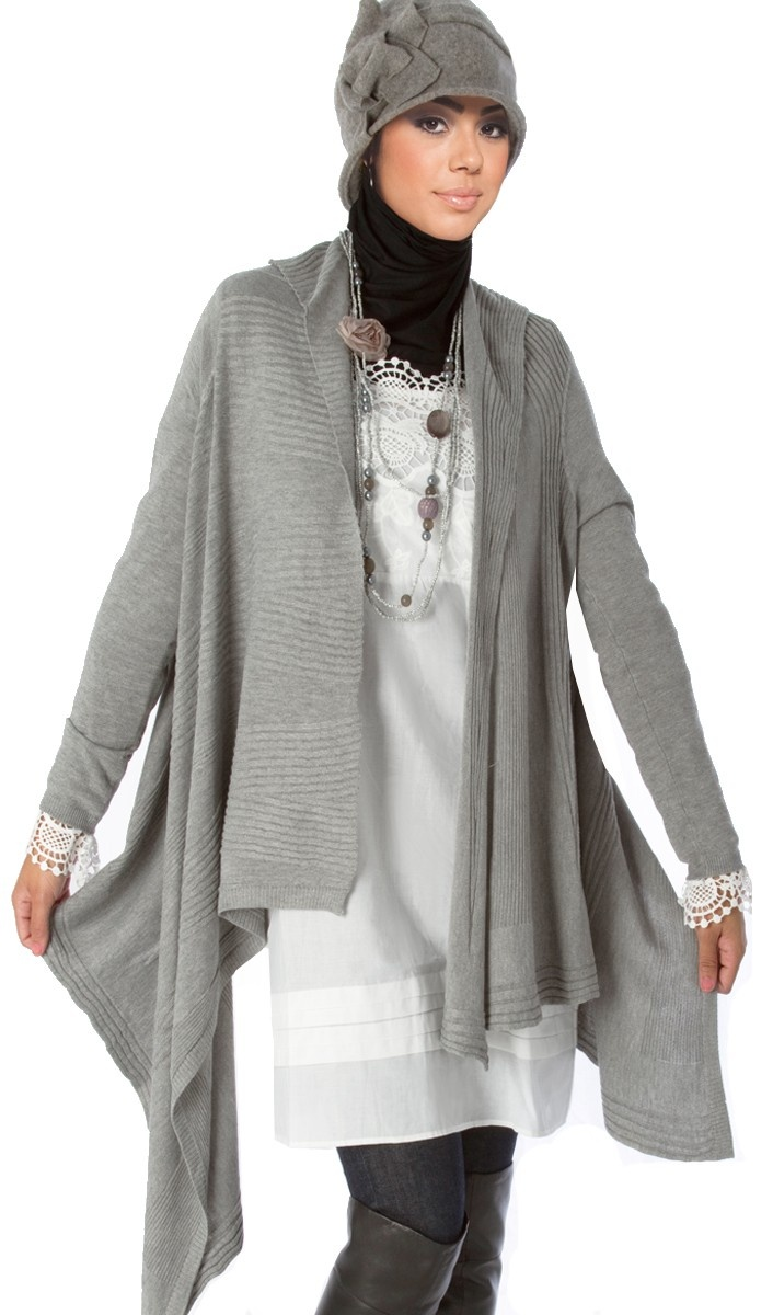 How to dress modest, hip, and modern, burqa with hat. Asymmetrical Hem Long Cotton Blend Sweater Cardigan with hat over hijab.