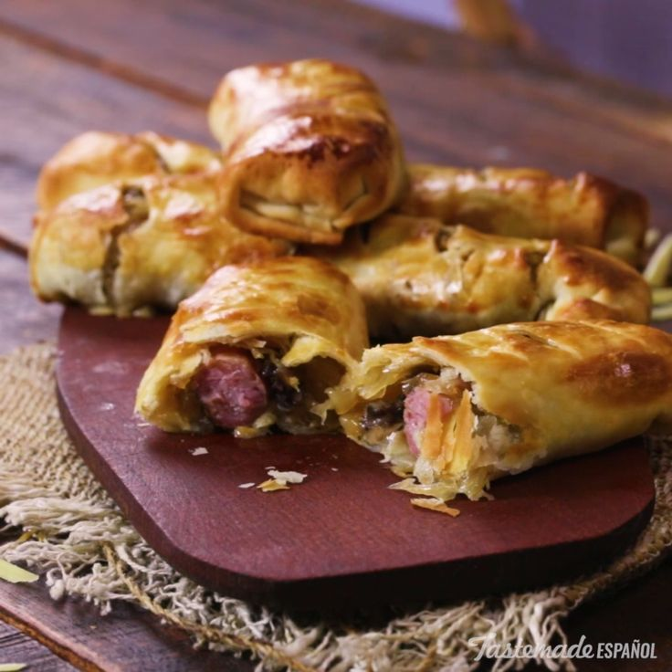 Elevate pigs in a blanket by using puff pastry filled with grilled sausage, provolone, onions and mushrooms.