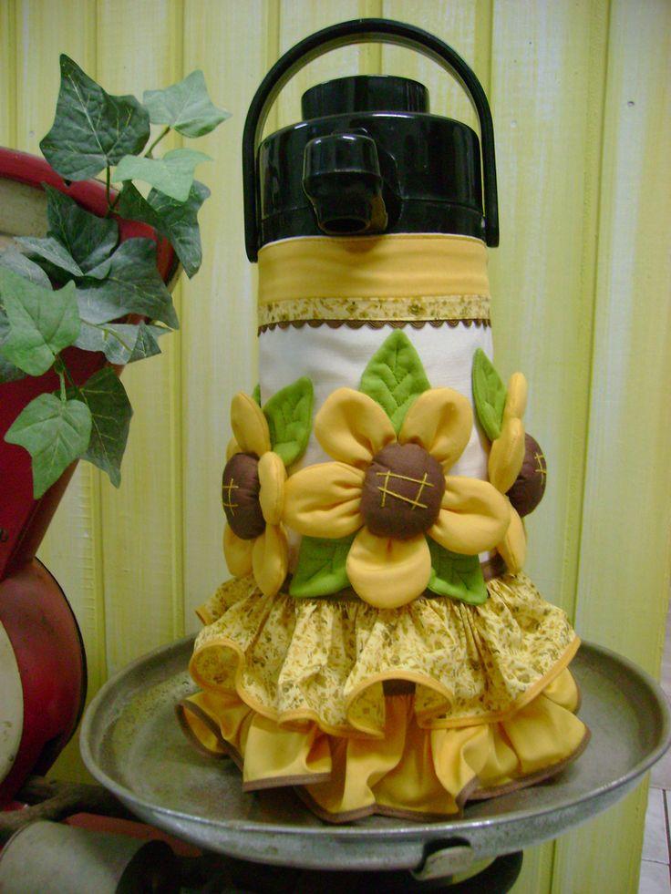 DIy idea capa garrafa térmica y muchas otras y también ideas de toallas para la cocina y adorno en la casa